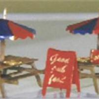 Cafe' Picnic Tables with Umbrellas & Signs - Z